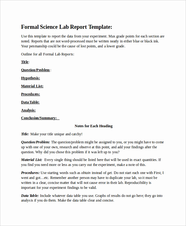 Formal Lab Report Template New 55 Report Templates Free Word Pdf Apple Pages Google