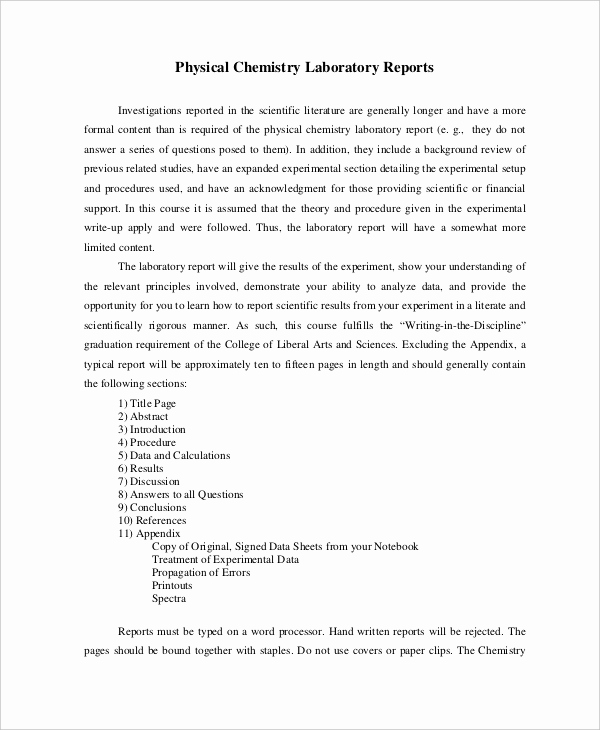 Formal Lab Report Template New 9 Lab Report Templates Free Sample Example format