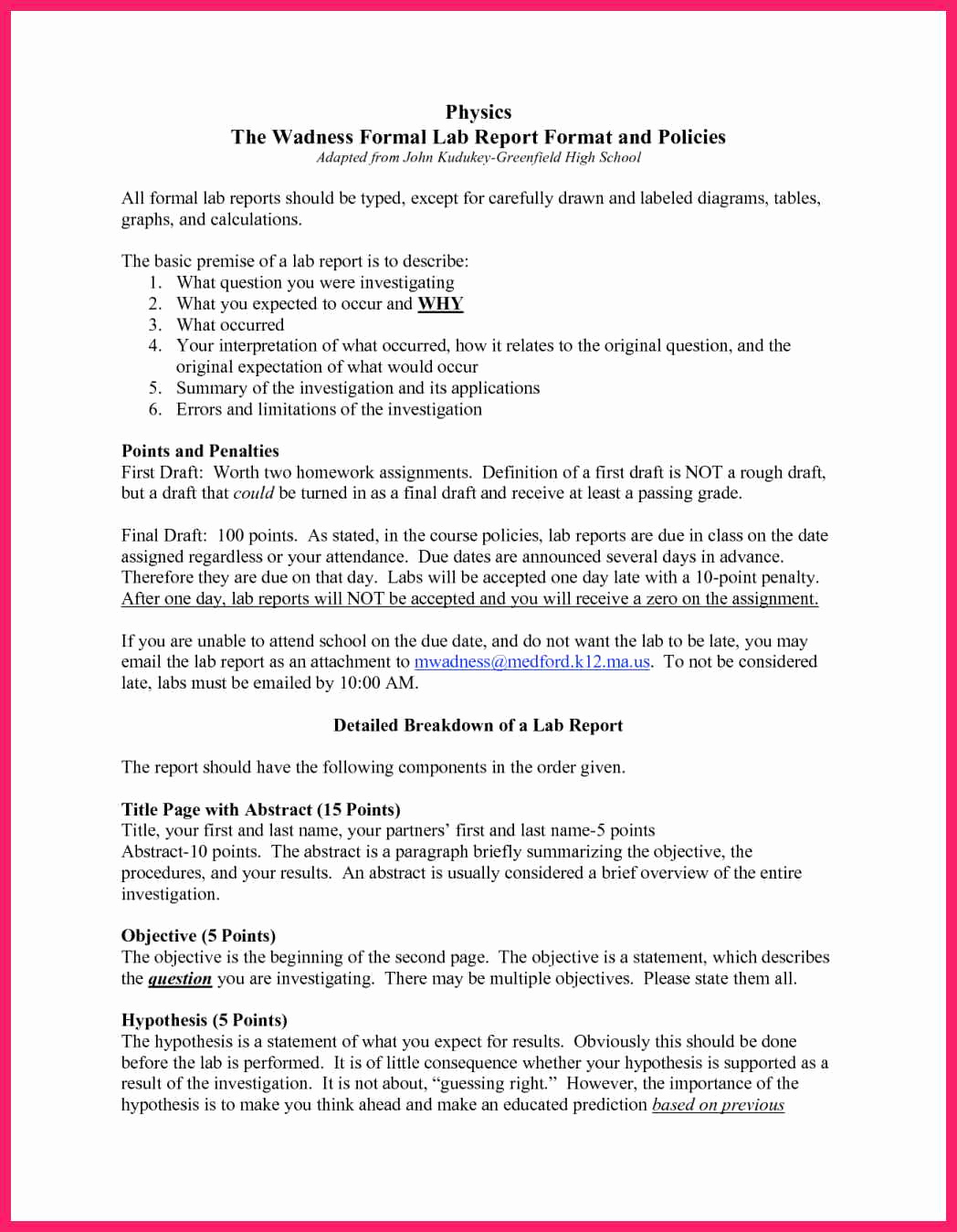 Formal Lab Report Template Unique formal Lab Report Template