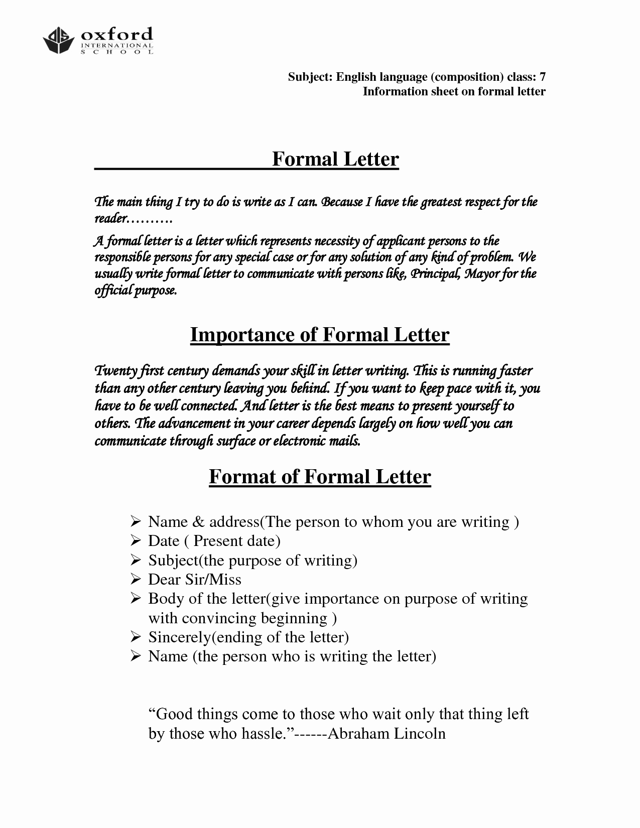 Formal Letter format Sample Beautiful Ficial Letter format Template Ficial Letter Business