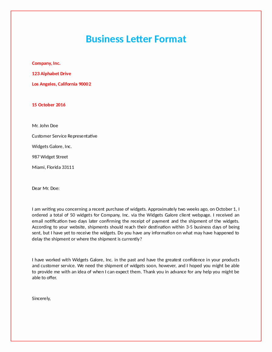 Format for A Business Letter Beautiful Ficial Letter format How to Write An Ficial Letter