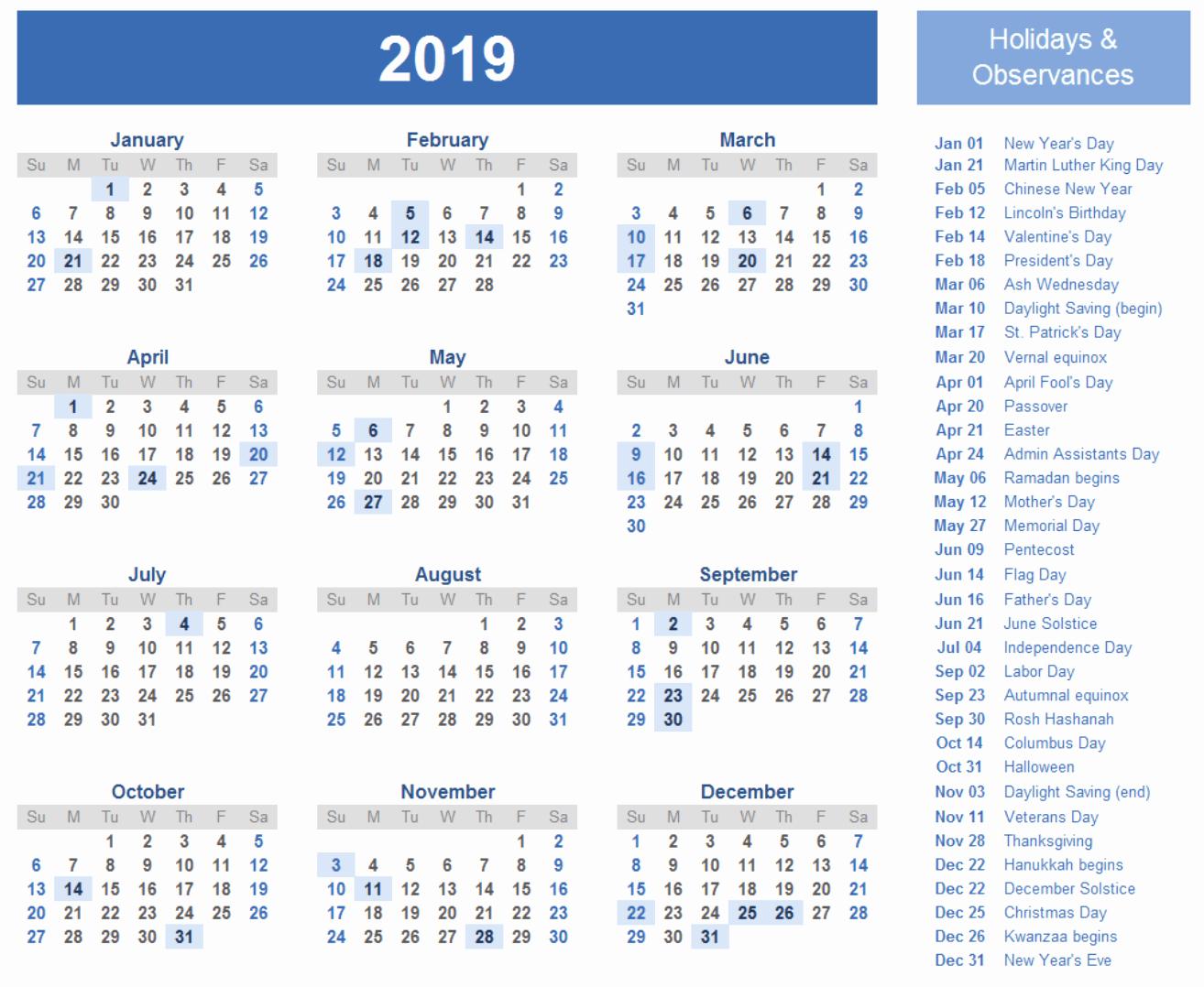 Free 2019 Calendar Template Beautiful 2019 Calendar Amazonaws
