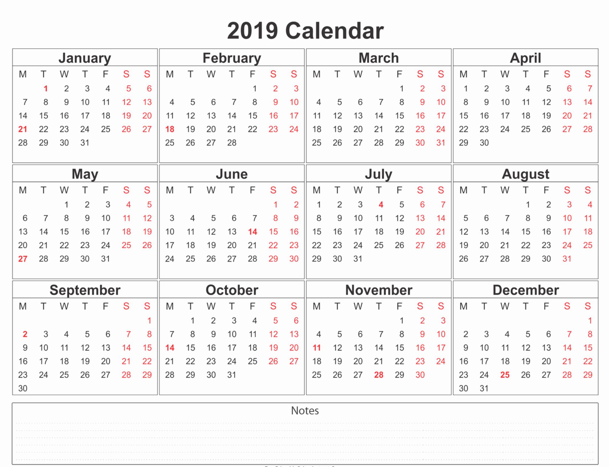 Free 2019 Calendar Template Best Of 2019 Calendar Amazonaws