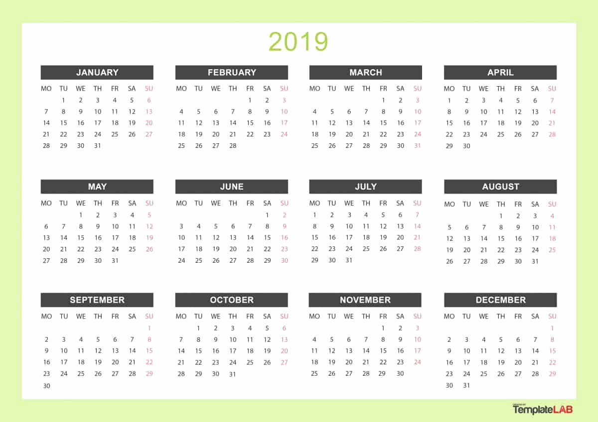 Free 2019 Calendar Template Best Of 2019 Printable Calendars [monthly with Holidays Yearly