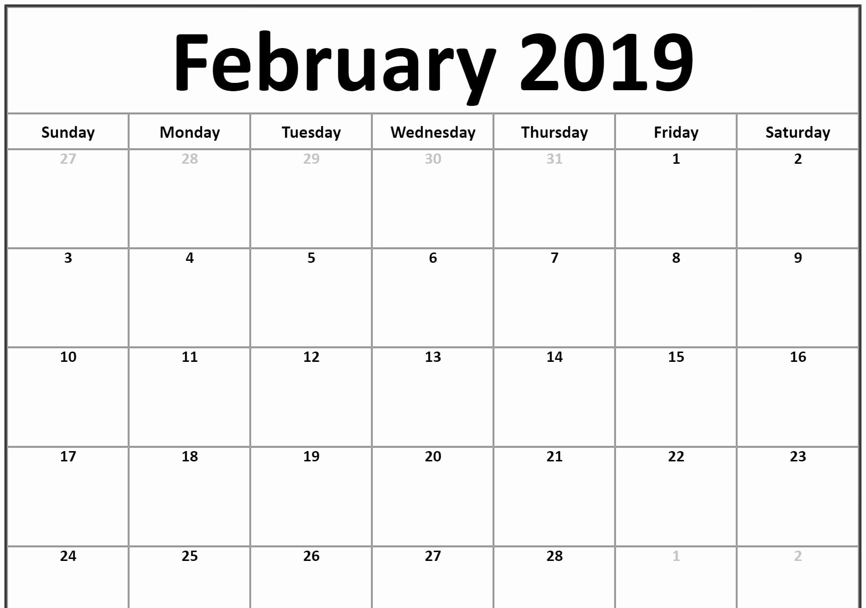 Free 2019 Calendar Template Best Of Small 2019 February Printable Calendar Landscape
