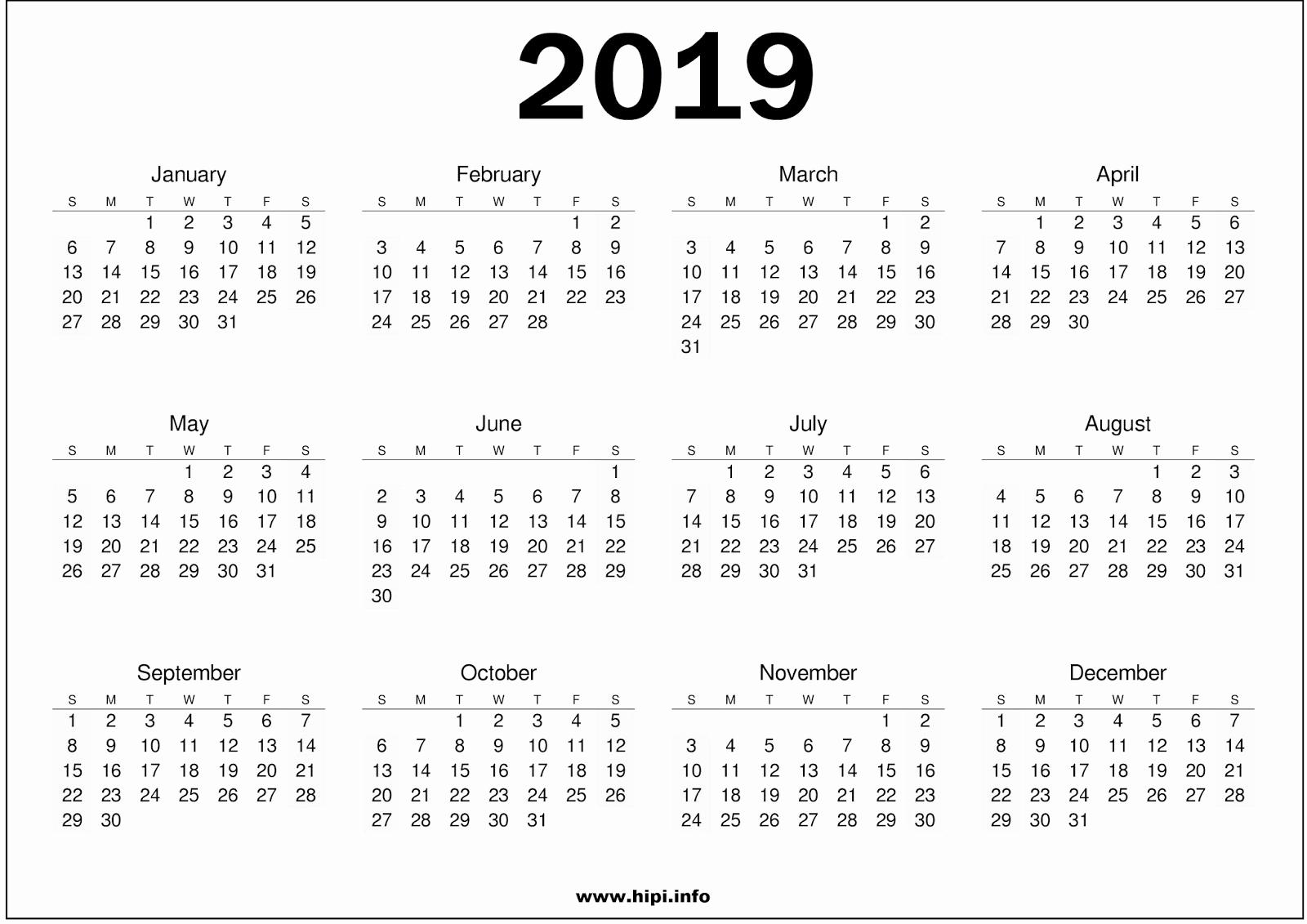 Free 2019 Calendar Template Elegant 2019 Calendar Printable Free007 Addicted2adventure