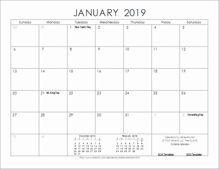 Free 2019 Calendar Template Elegant 2019 Calendar Templates and