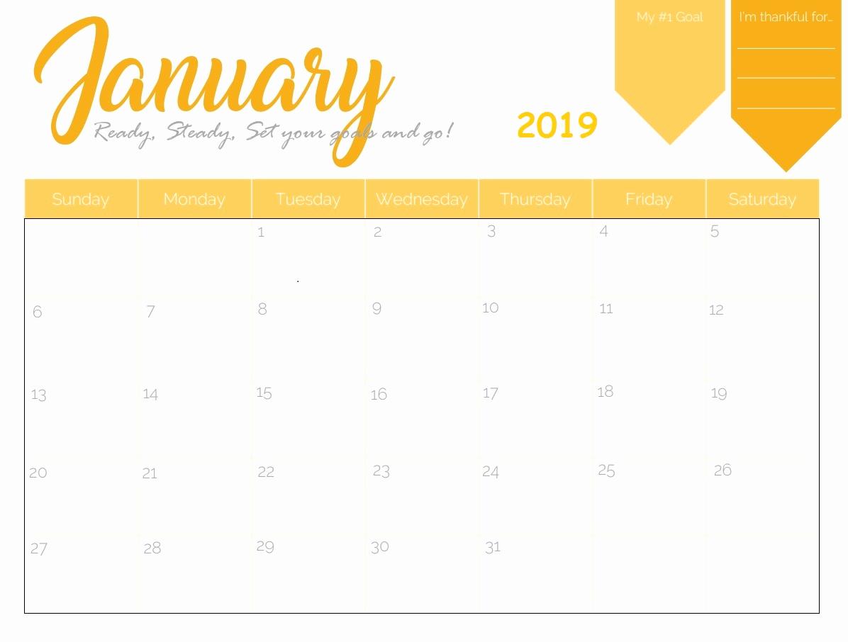 Free 2019 Calendar Template Elegant Free Printable 2019 Monthly Calendar