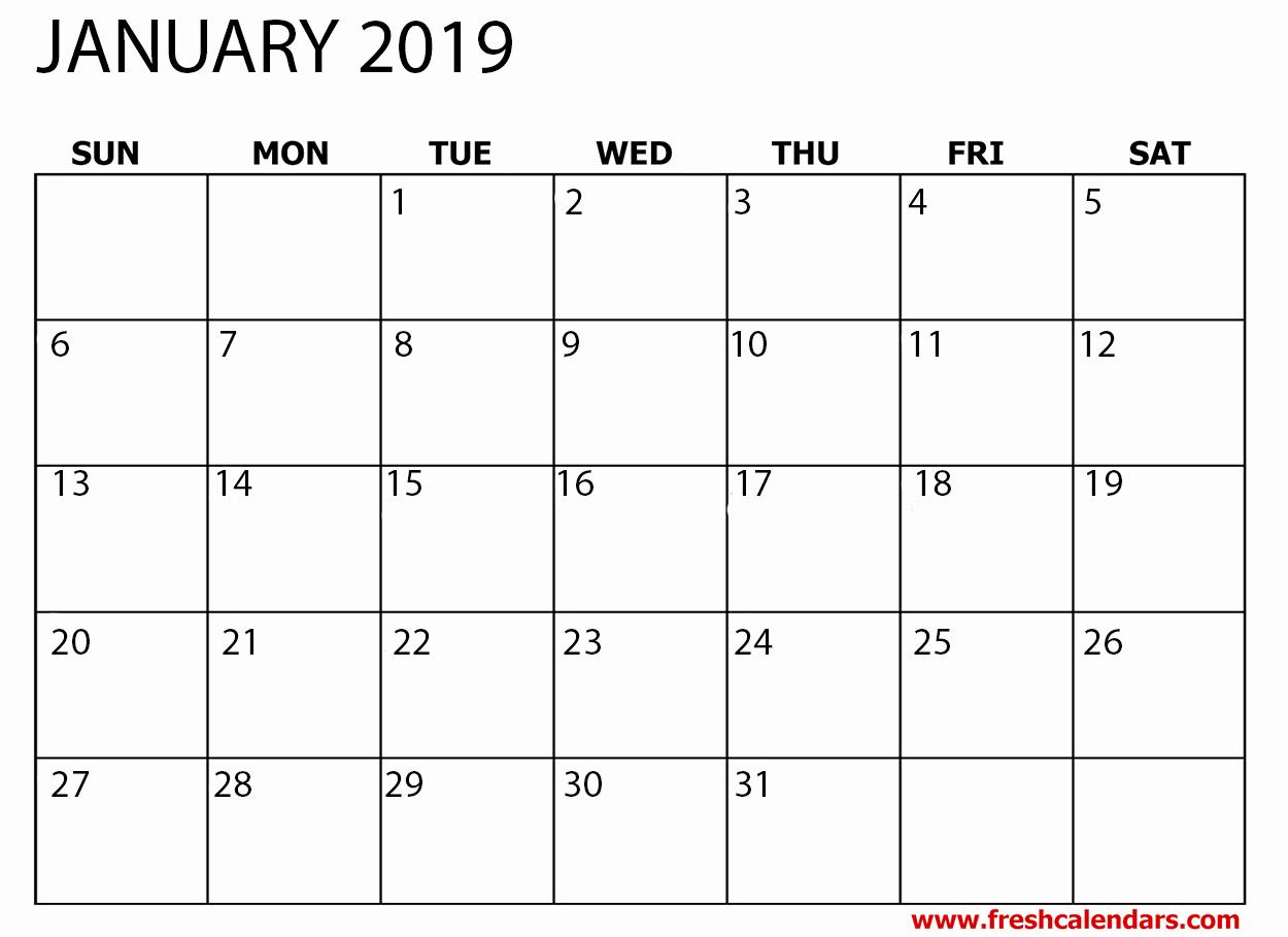 Free 2019 Calendar Template Elegant January 2019 Calendar Printable Fresh Calendars