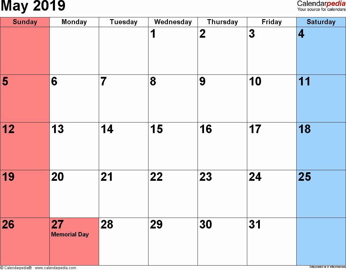 Free 2019 Calendar Template Elegant May 2019 Printable Calendar Templates Free Blank Pdf