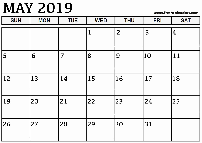 Free 2019 Calendar Template Inspirational May 2019 Calendar Printable Fresh Calendars