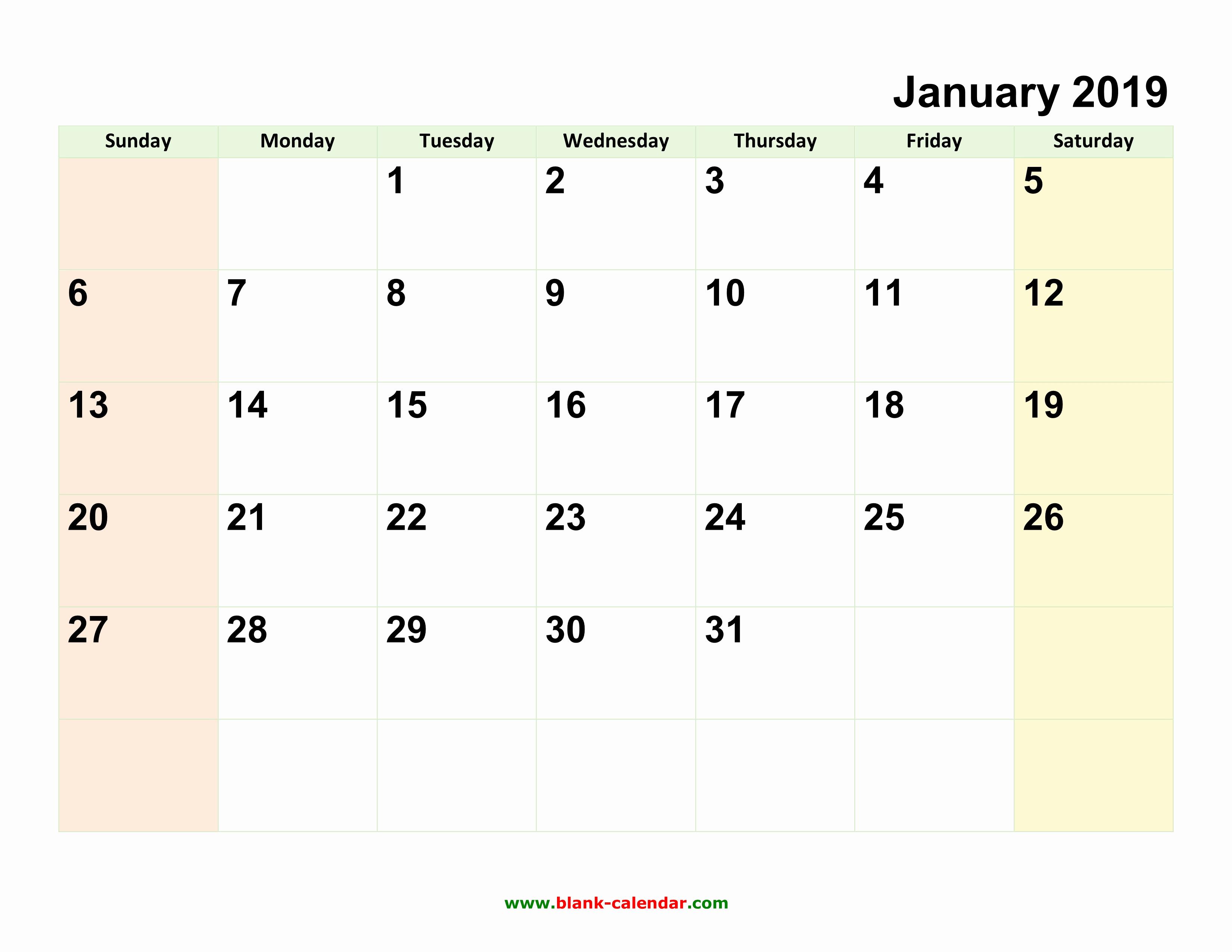 Free 2019 Calendar Template Inspirational Monthly Calendar 2019