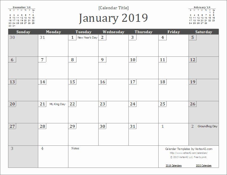 Free 2019 Calendar Template Lovely 2019 Calendar Templates and