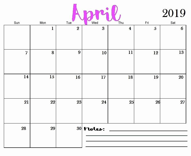 Free 2019 Calendar Template Unique April 2019 Printable Calendar Templates Free Blank