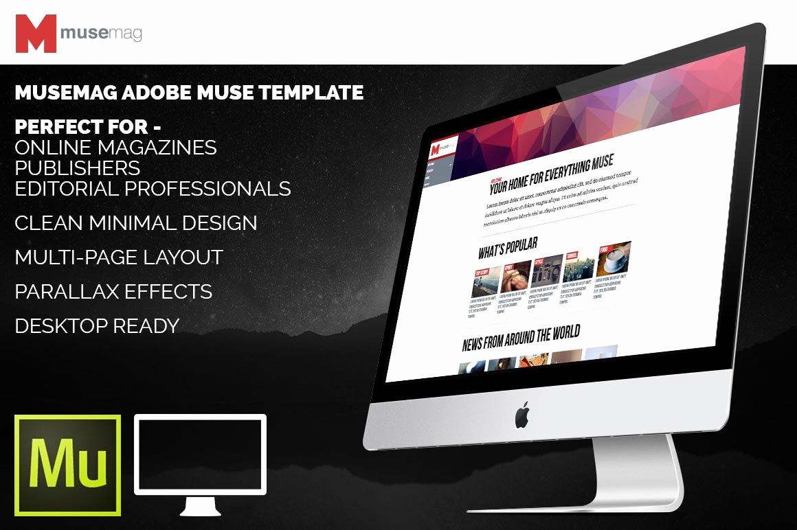 Free Adobe Muse Templates Elegant Musemag Adobe Muse Template Website Templates