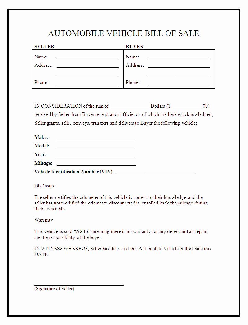 Free Auto Bill Of Sale Elegant Free Printable Auto Bill Of Sale form Generic