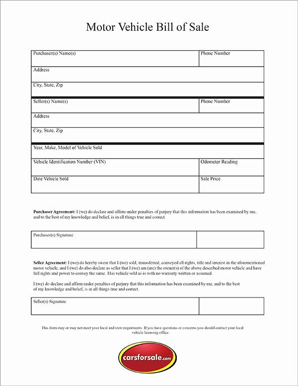 Free Auto Bill Of Sale Elegant Free Printable Motor Vehicle Bill Sale