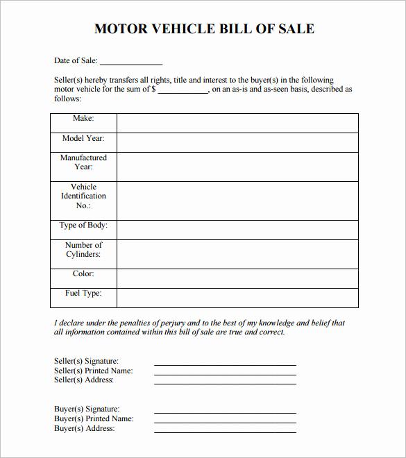 Free Auto Bill Of Sale Fresh 8 Auto Bill Of Sale Doc Pdf