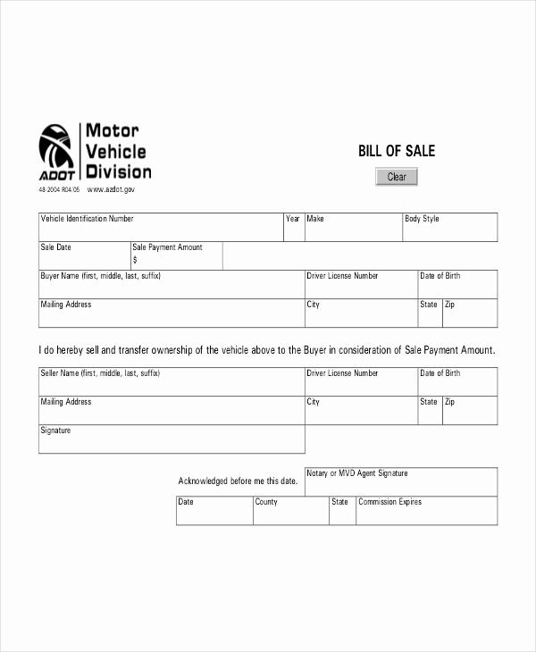 Free Auto Bill Of Sale Fresh Vehicle Bill Of Sale Template 14 Free Word Pdf