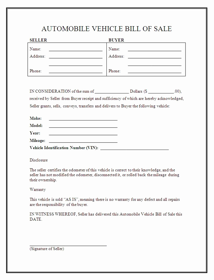 Free Auto Bill Of Sale New Printable Sample Free Car Bill Of Sale Template form