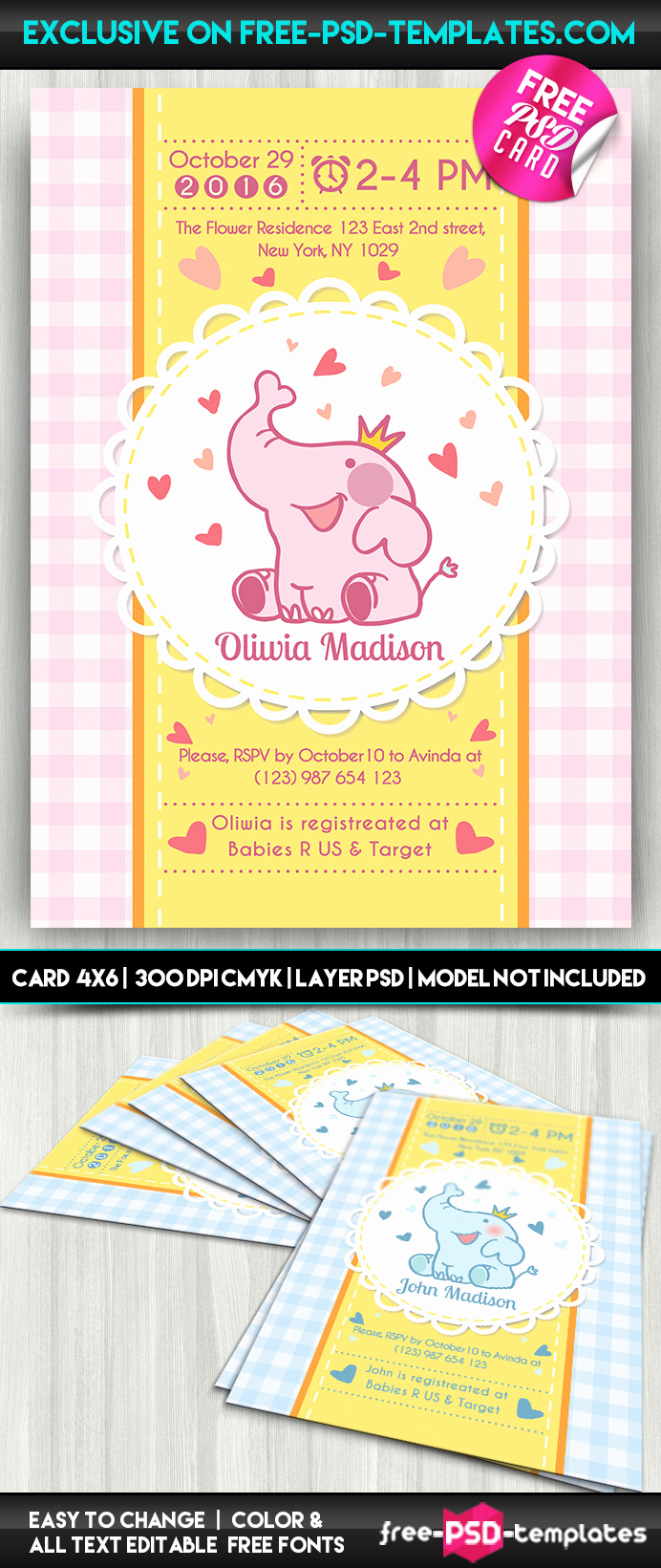 Free Baby Shower Templates Lovely Baby Shower Card – Free Psd Card Template On Behance