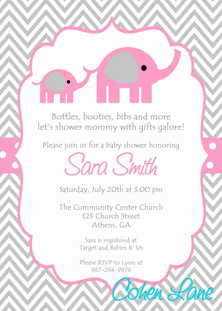Free Baby Shower Templates New Elephant Baby Shower Invitations Template Ideas – Party Xyz