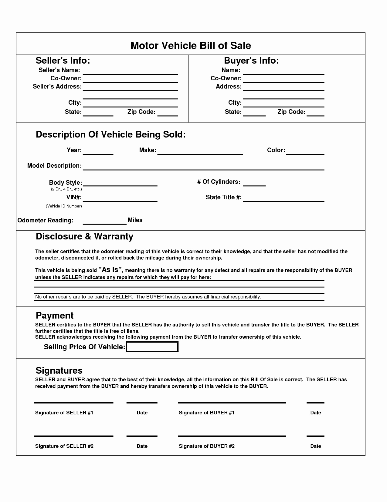 Free Bill Of Sale Pdf New Printable Car Bill Of Sale Pdf