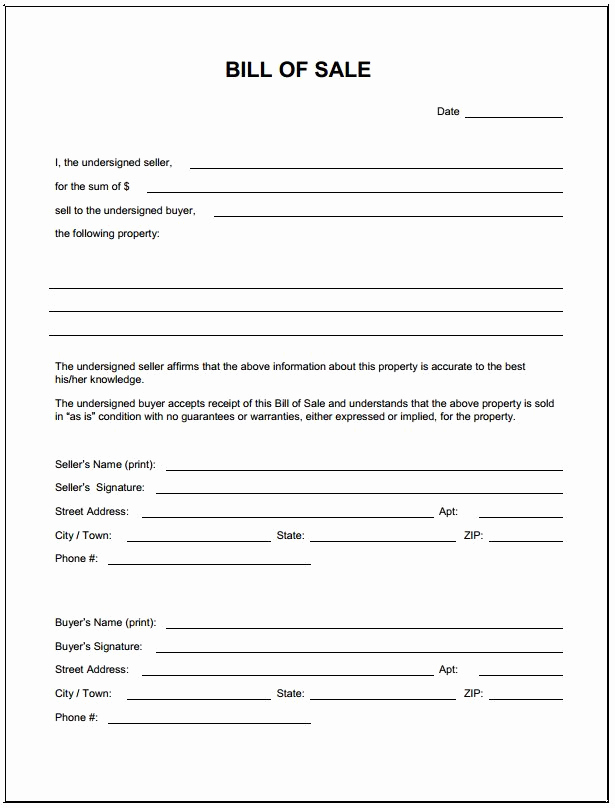 Free Bill Of Sale Pdf Unique Free Blank Bill Of Sale form Pdf Template