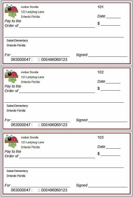 Free Blank Check Template Pdf Elegant Blank Checks Template Printable Play Checks for Kids