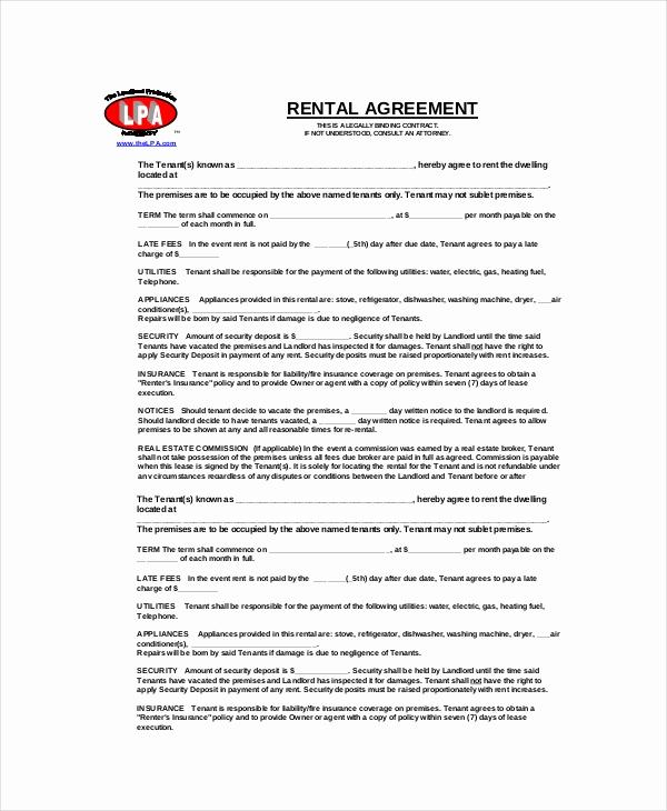 Free Blank Lease Agreement Beautiful Blank Rental Agreement 14 Free Word Pdf Google Docs