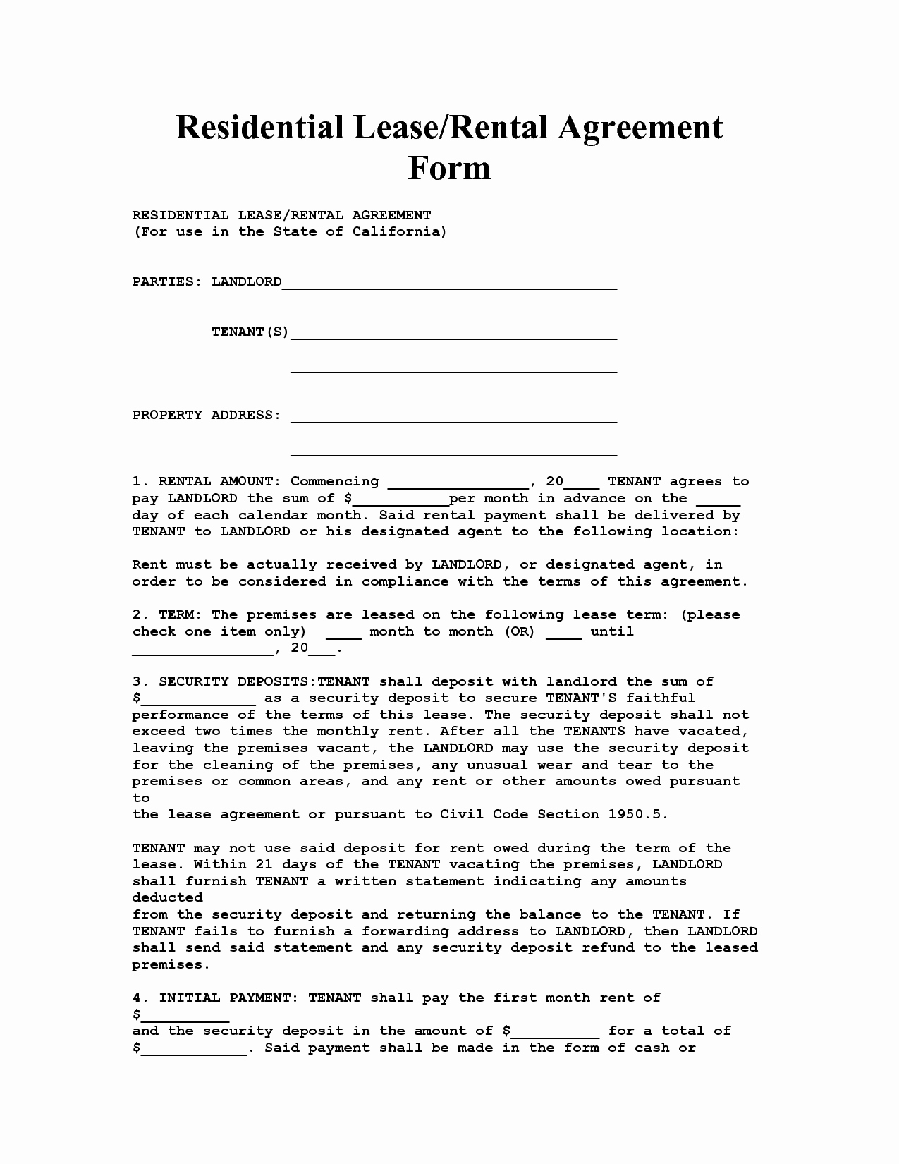 30 Free Blank Lease Agreement Tate Publishing News