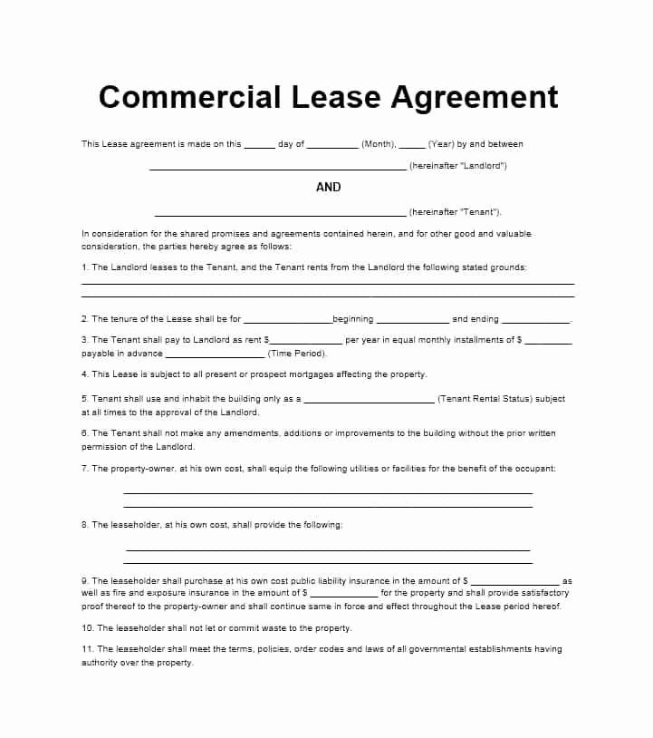 Free Blank Lease Agreement Fresh 26 Free Mercial Lease Agreement Templates Template Lab