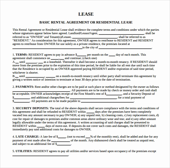 Free Blank Lease Agreement Fresh 9 Blank Rental Agreements to Download for Free