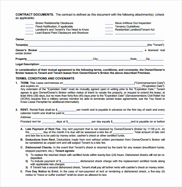 Free Blank Lease Agreement New Sample Blank Lease Agreement Template 7 Free Documents