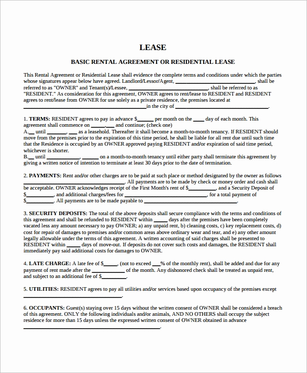 Free Blank Lease Agreement Unique 10 Sample Blank Lease Agreement Templates