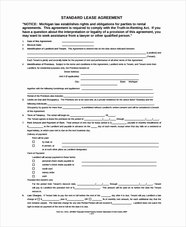 Free Blank Lease Agreement Unique Sample Blank Lease Agreement 7 Documents In Pdf Word
