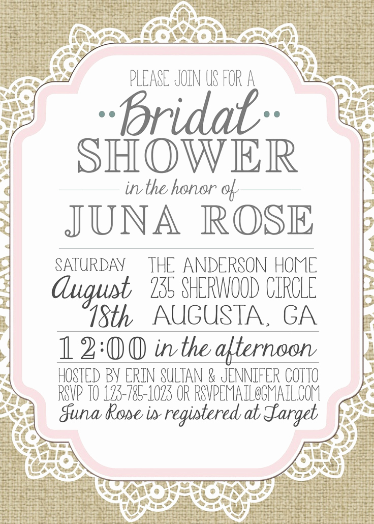 Free Bridal Shower Invitations Best Of Burlap and Lace Vintage Bridal Shower Baby Shower