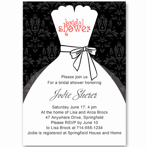 Free Bridal Shower Invitations Fresh Black and White Inexpensive Wedding Dress Bridal Shower