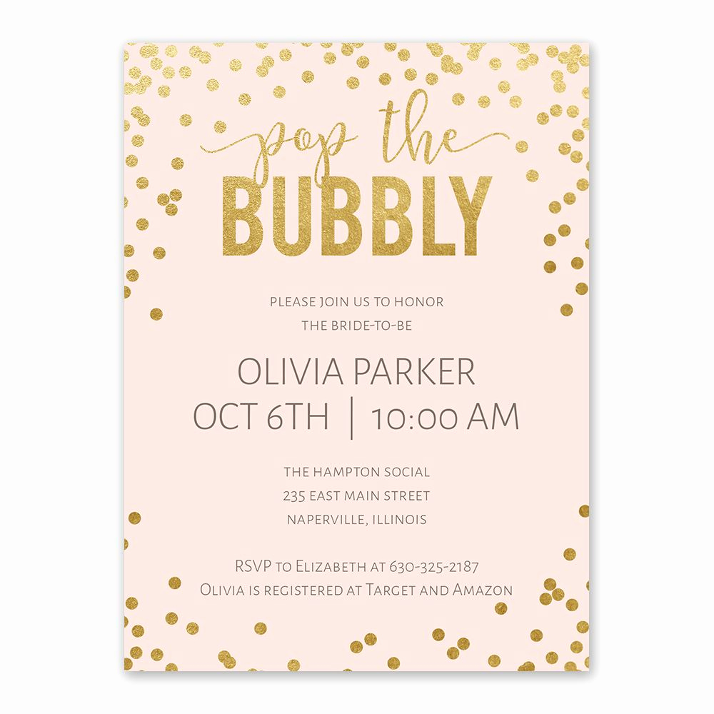 Free Bridal Shower Invitations Fresh Bubbly Bridal Shower Invitation