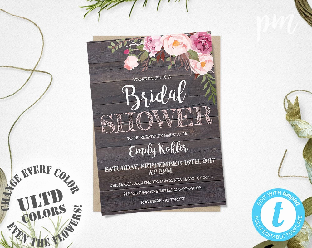 Free Bridal Shower Invitations Lovely Rustic Floral Bridal Shower Invitation Template Printable