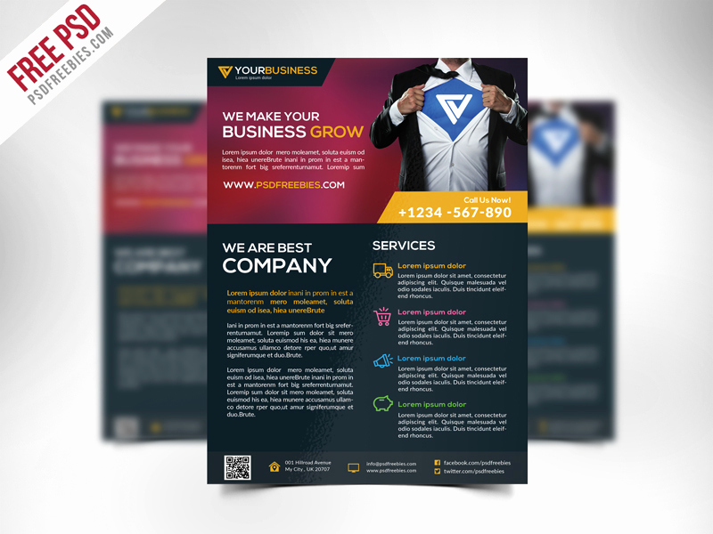 Free Business Flyer Templates Awesome Free Corporate Business Flyer Template Psd Download Psd
