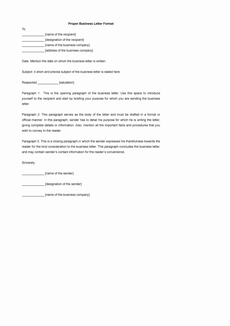 Free Business Letter Template Lovely 35 formal Business Letter format Templates & Examples