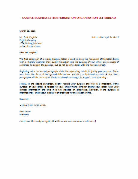 Free Business Letter Template Luxury Business organization Letter format