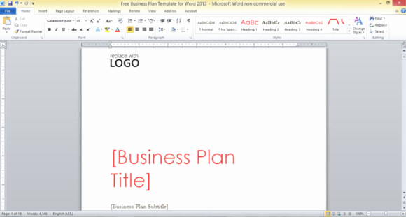 Free Business Plan Template Word Fresh Free Business Plan Template for Word 2013