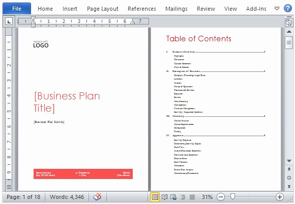 Free Business Plan Template Word New Business Plan Template for Microsoft Word