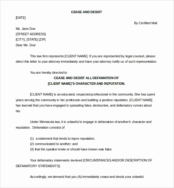 Free Cease and Desist Letter Elegant Cease and Desist Letter Template 16 Free Sample Example
