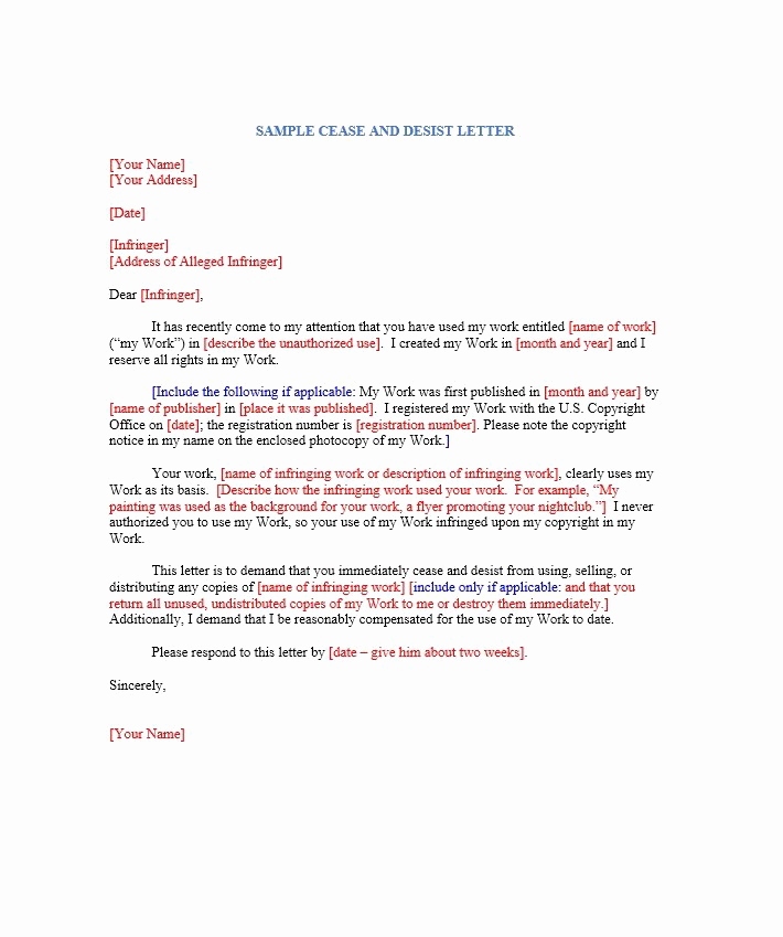 Free Cease and Desist Letter Fresh 30 Cease and Desist Letter Templates [free] Template Lab