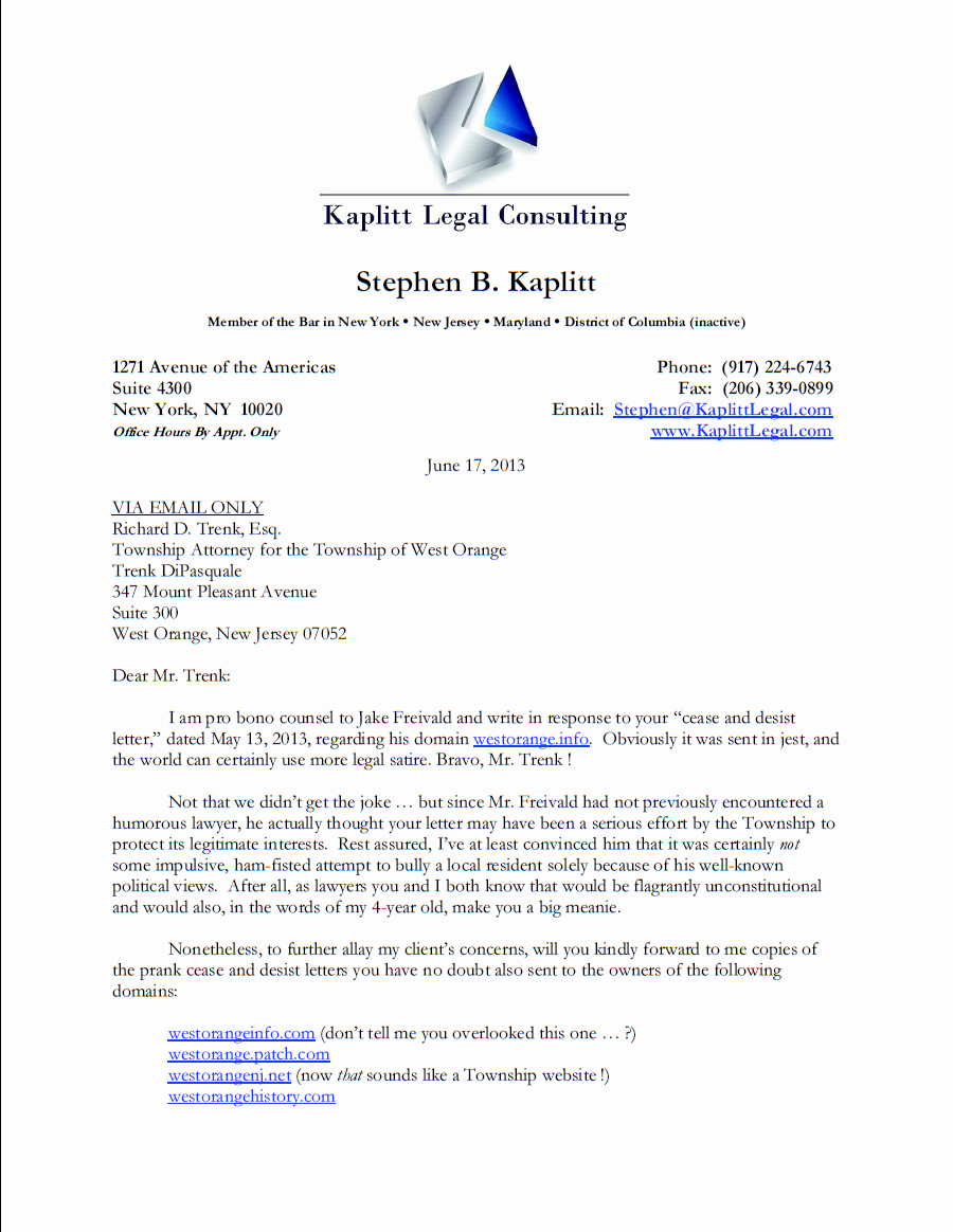 Free Cease and Desist Letter Inspirational Lawyer Brilliantly Bites township Trying to Shut His