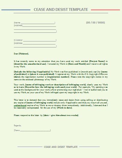 Free Cease and Desist Letter Lovely Cease and Desist Letter Template