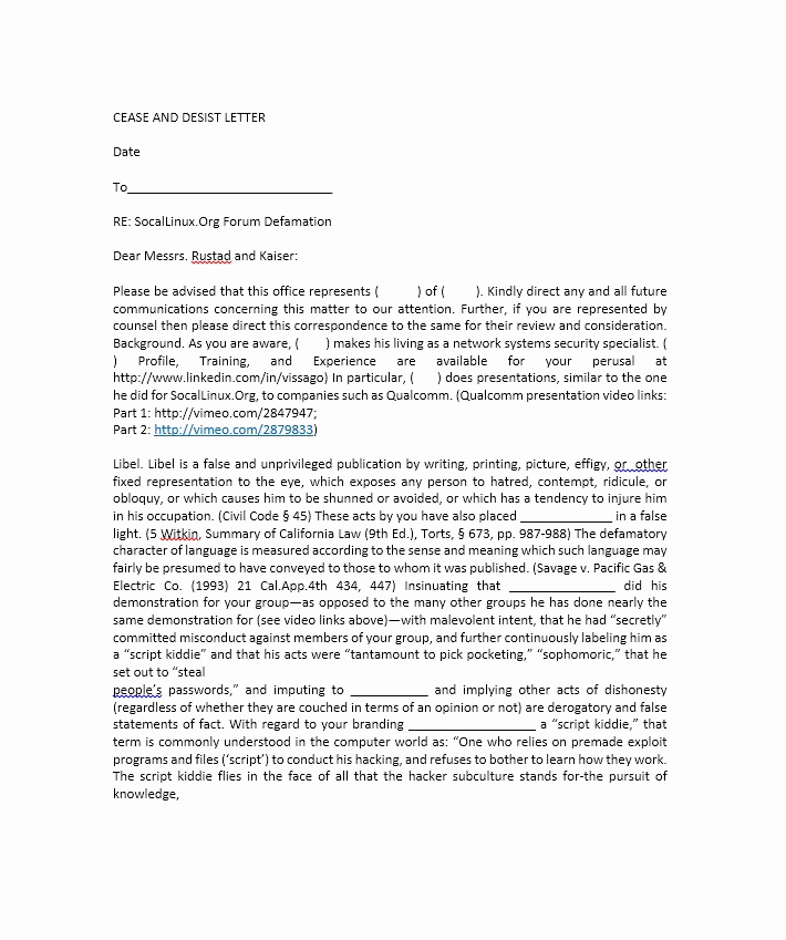 Free Cease and Desist Letter Luxury 30 Cease and Desist Letter Templates [free] Template Lab